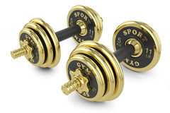 Golden dumbells Royalty Free Stock Photography