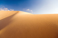 Golden dune and blue sky 1. A golden dune at the desert of Fuerteventura royalty free stock image