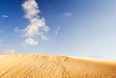 Golden dune and blue sky 1. A golden dune at the desert of Fuerteventura stock photos
