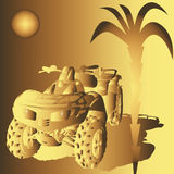 Golden Dune buggy. All-terrain vehicle in golden tone, palm and sun on background Royalty Free Stock Images