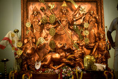 Golden Durga Pooja Mahotsav , Kolkata, West Bengal. Every year the idols of Durga Mata is being established during Navratri - Durgotsab at Kolkata where you will Stock Photo