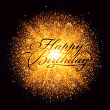 Golden dust firework explosion with Happy Birthday Lettering. Dust firework light effect with glow.  Vector Illustration Stock Photo