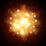Golden dust vector firework explosion. On dark red background Royalty Free Stock Image