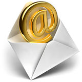 Golden e-mail sign. The metaphor of the e-mail - the golden sign e-mail comes from the open envelope vector illustration