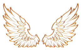 Golden eagle wing isolated on white background. I created in Photoshop and 3d software Royalty Free Stock Photos
