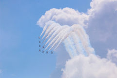 Golden Eagles di ROKAF T-50 nella formazione Fotografie Stock