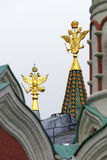Golden eagles national emblem of Russia in the tower peaks Stock Images