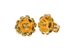 Golden earrings Royalty Free Stock Photography