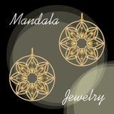 Golden earrings in mandala style, luxurious jewelry in oriental mandala design, filigree jewel 3d royalty free illustration