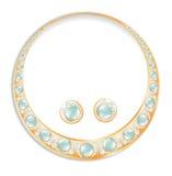 Golden Earrings Necklace Set Stock Photos