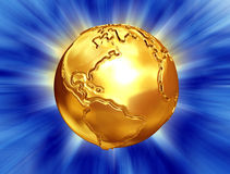 Golden earth with abstract background. Gold earth with abstract light rays on the background,bumps and scratches on earth's surface Stock Photo