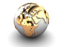 Golden earth globe. Abstract 3d illustration of golden earth globe over white background Royalty Free Stock Photography
