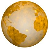 Golden Earth Globe World. A Gold Textured Earth Globe, golden view of eastern and western hemispheres. 3D illustration stock illustration