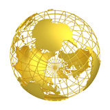 Golden Earth planet 3D Globe. Gold globe Earth with accurate geographic coordinates (latitude and longitude grid) wire framework. PNG with transparent background vector illustration