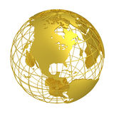 Golden Earth planet 3D Globe isolated Royalty Free Stock Photography