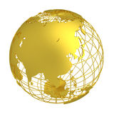 Golden Earth planet 3D Globe isolated Stock Images
