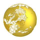Golden Earth planet 3D Globe isolated Royalty Free Stock Photos