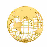 Golden Earth planet 3D Globe isolated Stock Photo