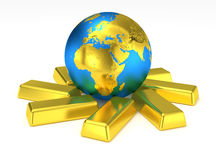 Golden Earth planet on gold bars Royalty Free Stock Images