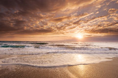 Golden East Coast Florida Sunrise Stock Images
