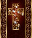 Golden Easter brilliant cross Royalty Free Stock Photos