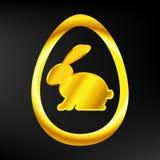 Golden Easter Bunny in a gold egg. On dark background Royalty Free Illustration