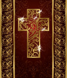 Golden Easter cross, invitation card Stock Photo