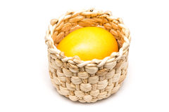 Golden Easter Egg In Basket Royalty Free Stock Photos