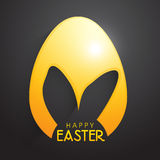 Golden Easter Egg with Bunny Ears. Stock Photo