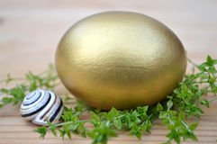 Golden Easter egg, grass and snail Stock Photography