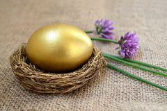 Golden Easter egg in the nest and chive flowers Royalty Free Stock Photo
