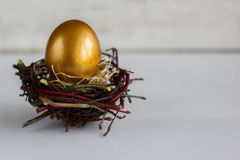 Golden easter egg in the nest on white rustic background.  Royalty Free Stock Images