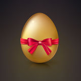 Golden Easter egg with red ribbon and bow vector illustration. Royalty Free Stock Image