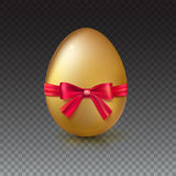 Golden Easter egg with red ribbon and bow vector illustration. Royalty Free Stock Images