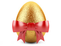 Golden easter egg with red ribbon Stock Images