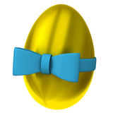 Golden Easter egg with ribbon 3d. Golden Easter egg with blue ribbon bow 3d Royalty Free Stock Photo