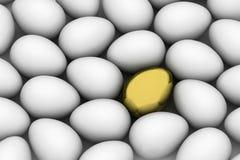 Golden easter egg among similar white eggs vector illustration