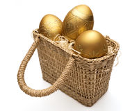 Golden easter eggs Stock Photography