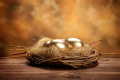 Golden easter eggs Royalty Free Stock Photo