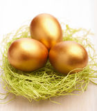 Golden easter eggs Stock Photography