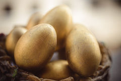 Golden Easter eggs Stock Photos