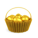 Golden easter eggs in  basket isolated Stock Photo