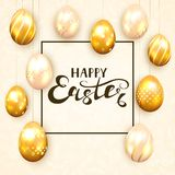 Golden Easter eggs on beige background. Golden Easter eggs with decorative patterns on beige background. Lettering Happy Easter, illustration Stock Photography
