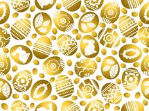 Golden Easter eggs decorated with flowers, leafs and rabbits over white background. Seamless pattern. Easter repeatable holidays. Design. Can be used for fabric stock illustration