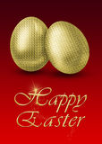 Golden Easter Eggs. Glamourous illustration with 2 golden easter eggs on a red background Stock Image
