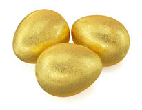 Golden Easter eggs isolated Royalty Free Stock Photos