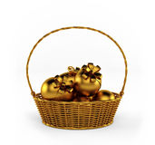 Golden Easter eggs isolated on white. 3d render Royalty Free Stock Image