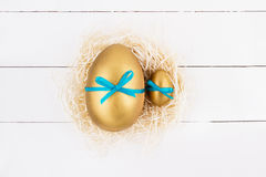 Golden Easter eggs Royalty Free Stock Photography