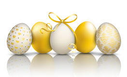 5 Golden Easter Eggs Ornaments Mirror. 5 golden easter eggs on the mirror Royalty Free Stock Photos
