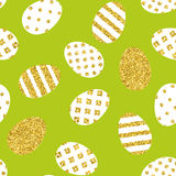 Golden Easter eggs pattern. Seamless background for easter design Royalty Free Stock Images